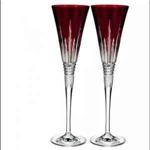 WATERFORD CRYSTAL Champagne FLUTES  red diamond